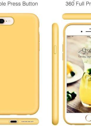 Матовый силиконовый чехол на iphone 8 plus айфон 8+ желтый