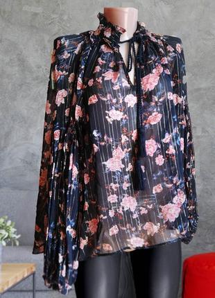 Красивая блузка принт цветы , рукава фонарики zara
