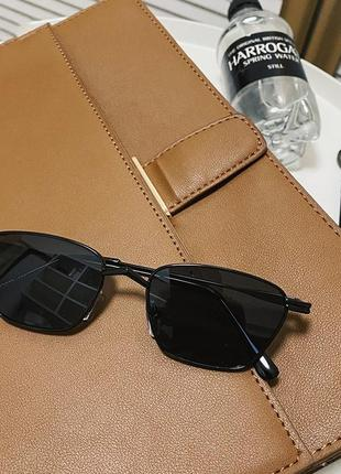 Квадратные солнцезащитные очки в стиле ретро винтажные очки женские черные в черной оправе