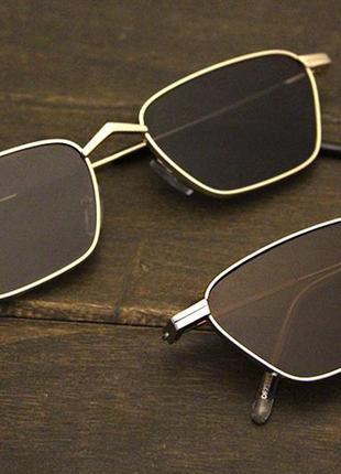 Квадратные солнцезащитные очки в стиле ретро очки женские коричневые в золотой оправе5 фото