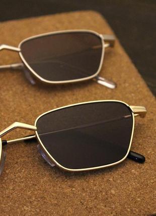 Квадратные солнцезащитные очки в стиле ретро очки женские коричневые в золотой оправе6 фото