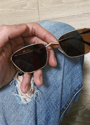 Квадратные солнцезащитные очки в стиле ретро очки женские коричневые в золотой оправе4 фото