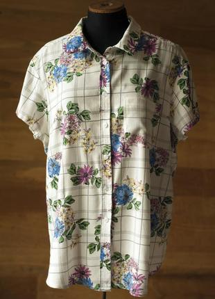 Белая рубашка с цветочным принтом женская spirit, размер xl