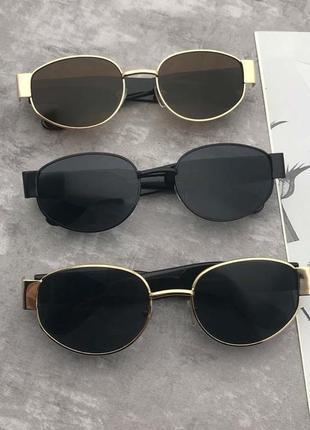 Широкие солнцезащитные очки маска овальные круглые женские стеклянные коричневые2 фото