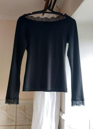 Кофта черная блуза кофточка джемпер футболка лонгслив реглан