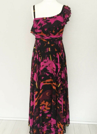 Шикарное платье макси, на одно плечо, шифоновое, рюши, воланы
