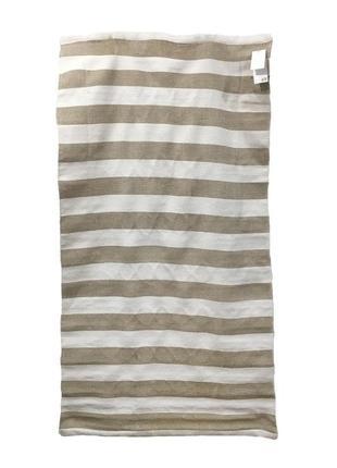 Хлопковый коврик в полоску h&m 02489540042 бежевого цвета