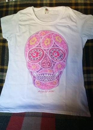 Футболка fruit of the loom в стиле sugar skull дизайнерская