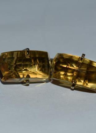 Интересные запонки серебро 875 проба звезда позолота вес 10,1 грамма винтаж