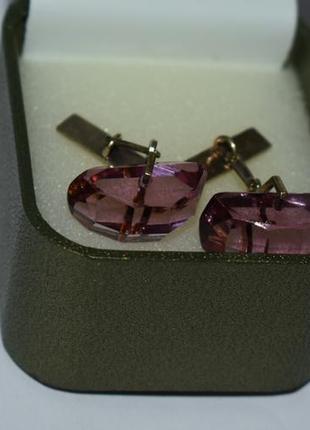 Интересные запонки 6 серебро 875 проба звезда позолота вес 9,8 грамм винтаж