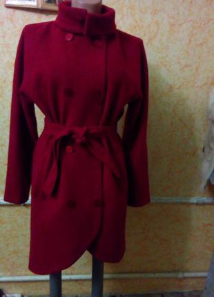 Кашемировое модное красное пальто