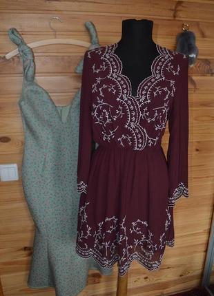 Платье с вышивкой h&m,