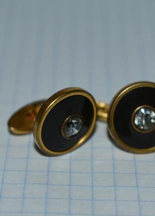 Шикарные запонки 11 камни металл позолота винтаж