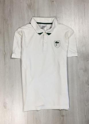 Z8 тенниска lacoste лакоста белая футболка с воротником