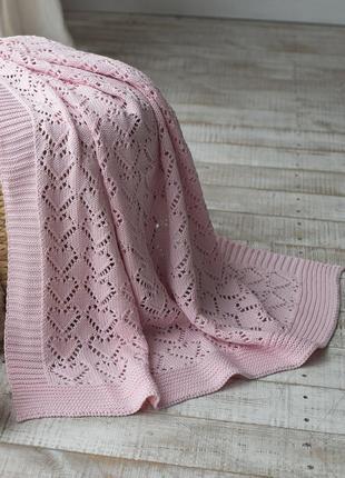 Плед детский вязаный 90x90 betires kitten pink (100% хлопок) розовый