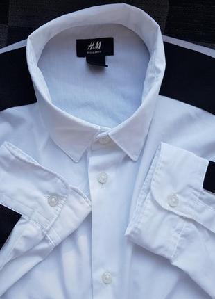 Базовая брендовая коттоновая черно белая рубашка h&m l