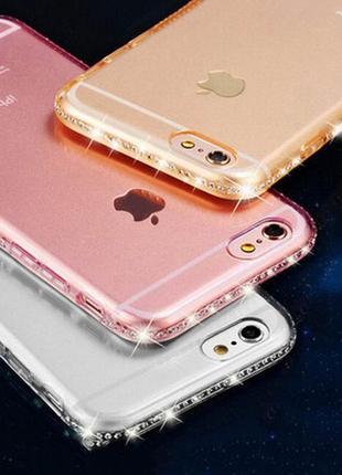 Чехол бампер на iphone 7/8 камни стразы силиконовый