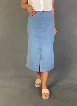 Джинсовая юбка миди высокая посадка part two.