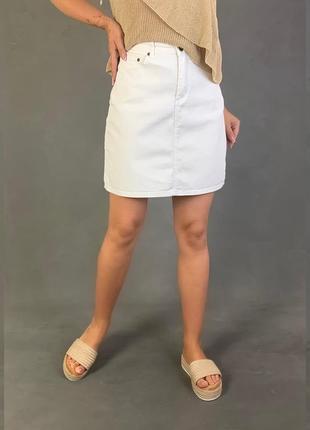 Джинсовая юбка высокая посадка белая oktan.