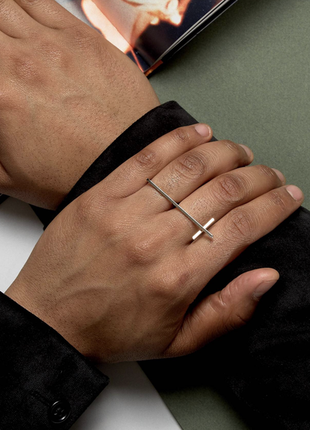 Чоловічий подвійний перстень, кольцо з крестом 🌿з сайту asos