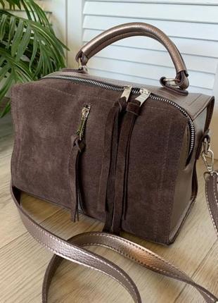 Новая красивая сумка-чемоданчик натуральная замша
