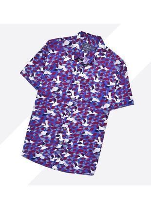 Topman m / яркая лёгкая летняя рубашка в насыщенный принт с аистами