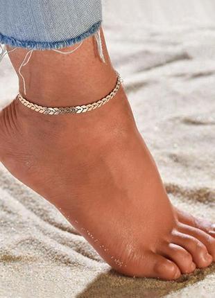 Браслет на щиколотку для пляжа цепочка на ногу на море чешуя