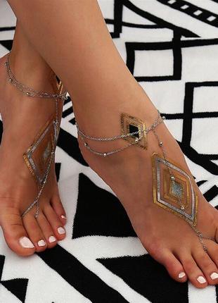 Браслет на щиколотку бохо для пляжа цепочка на ногу на море в богемном стиле