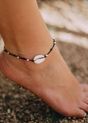 Браслет на щиколотку ракушка на ногу для пляжа на море