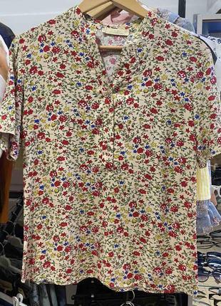 Женская блуза в цветочек , штапель размер s