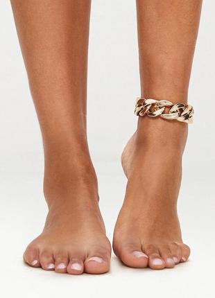 Браслет на щиколотку стильная массивная цепь на ногу
