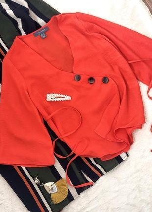 Новая с биркой блуза на пуговицах завязки на талии свободный рукав размер 10-12 primark