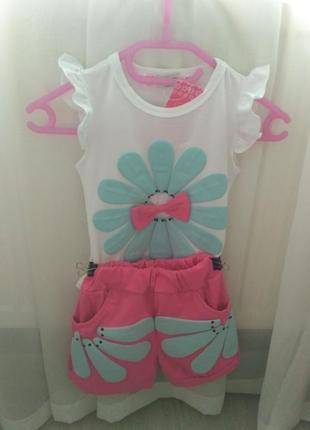 Костюм на девочку, шорты и футболка для девочки, шорты на девочку, рр.80-110