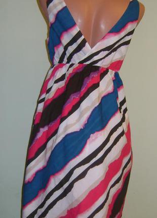Цветное в полоску летнее платье фирмы old navy, размер м2 фото