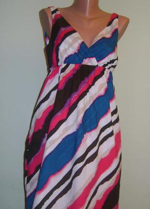 Цветное в полоску летнее платье фирмы old navy, размер м1 фото