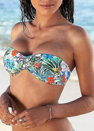 Новый купальник бандо etam, франция бикини белый в цветы этам яркий
