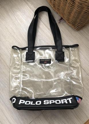 Прозрачная сумка ,пляжная сумка ,сумка ralph lauren