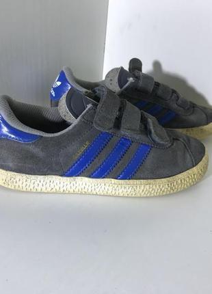 Детские замшевые кроссовки на липучках adidas gazelle ( адидас 29рр 17,5см )