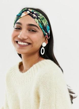 Пов'язка-вузол в тропічний принт / чалма платок на волосы обруч узел ободок тюрбан