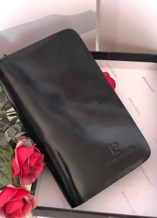 Женский кожаный кошелёк чёрный портмоне pierre cardin