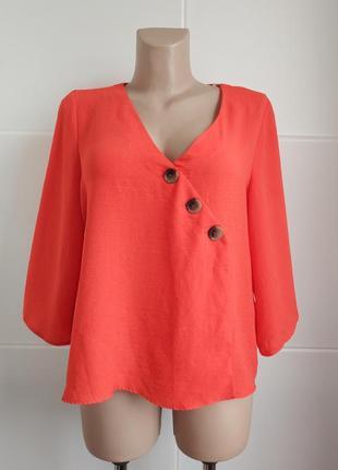 Стильная блуза primark кораллового цвета с пуговицами
