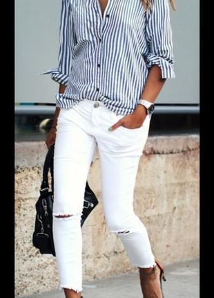 Базовая трендовая приталеная рубашка h&m в полоску размер 38 евро
