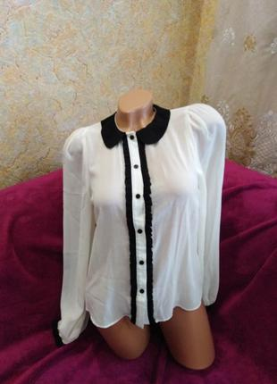 Срочная распродажа!!! супер классная черно-молочная блузка, 42-46р