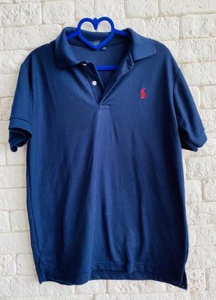 Темно-синяя футболка поло от polo ralph, мужское поло