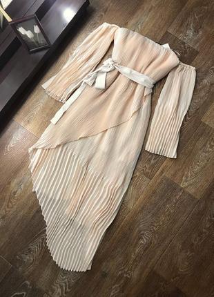 Нежное нарядное платье плиссе , бежевое платье в плиссировку миди 😍