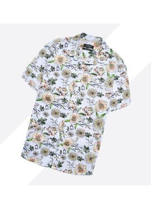 Primark l / лёгкая хлопковая летняя рубашка с коротким рукавом полностью в принт