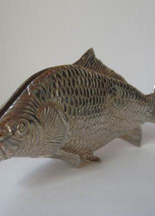 Винтажная посеребренная салфетница рыба серебрение италия