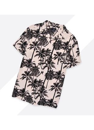 Twisted soul l / лёгкая гавайская рубашка в чёрно-розовом цвете в принт с пальмами