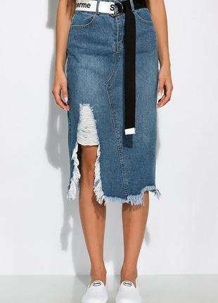 Юбка джинсовая, миди