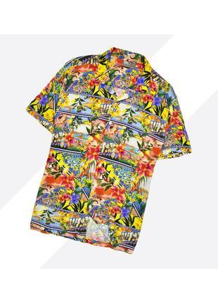 Asos m+ / яркая оверсайзная гавайская рубашка в насыщенный принт